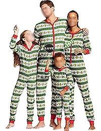 TUSFTAY Christmas Onesie Family Matching Jumpsuit Pajamas Stripe Xmas Sleepwear