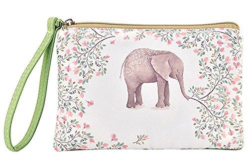Women and Girl Retro Canvas Coin Purse Zipper Pouch Wallet for Cash, Bank Card, Passport, Coin (Elephant)