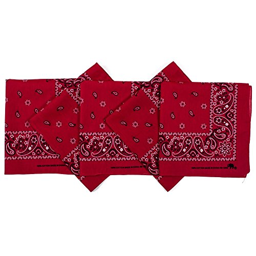 Original Elephant Brand Bandanas 100% Cotton Since 1898-5 Pack (Red)