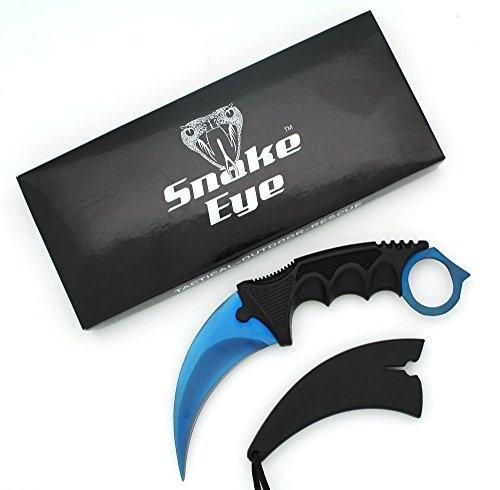 Snake-Eye-Tactical-Blue-Karambit-Style-Full-Tang-Neck-Knife-Outdoors-Camping-Fishing-Hunting