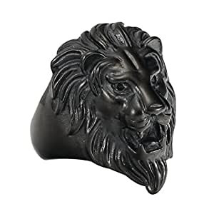 316L Stainless Steel Gothic Biker Lion Head Fashion Ring black (10)