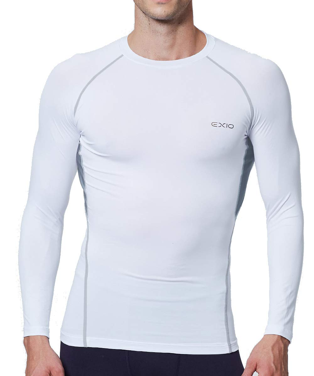 EXIO Mens Compression Baselayer Top Cool Dry Long & Short Sleeve Workout Shirt