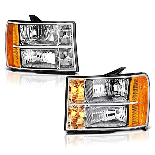 VIPMOTOZ Chrome Housing Headlight Headlamp Assembly For 2007-2013 GMC Sierra 1500 2500HD 3500HD Pickup Truck, Driver & Passenger Side