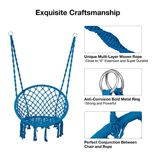 Greenstell Hammock Chair Macrame Swing with Hanging Kits, Hanging Cotton Rope Swing Chair, Comfortable Sturdy Hanging Chairs for Indoor, Outdoor, Home, Patio, Yard, Garden, 290LBS Capacity (Blue)