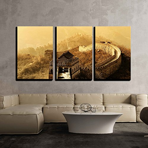 wall26 - 3 Piece Canvas Wall Art - Great Wall in Old Yellow Tone in Beijing, China - Modern Home Decor Stretched and Framed Ready to Hang - 24