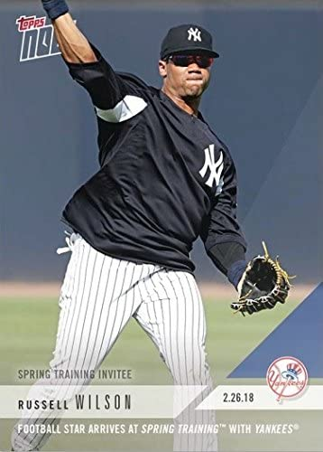 2018 Topps Now #ST-6 Russell Wilson New York Yankees Baseball Card - Only 1,987 made!