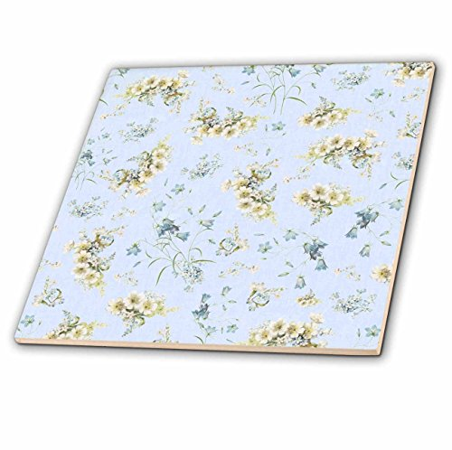- 3dRose ct_120214_1 Delicate White Flowers on Pale Blue Shabby Chic Vintage Floral Pattern Pastel Pretty Victorian Ceramic Tile, 4