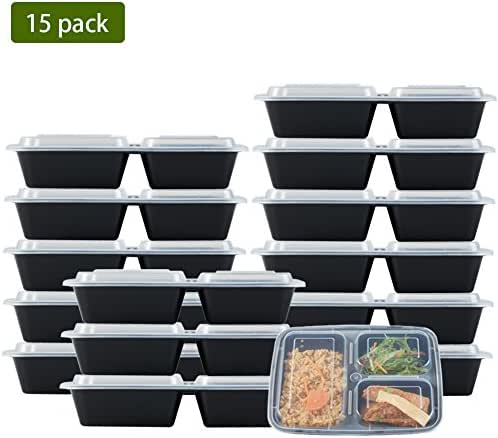 Nutribox [15 pack] 32oz 3 compartment Plastic Food storage Containers with lids - BPA Free Reusable Lunch bento Box - Meal Prep Containers, Leak Proof Microwave, Dishwasher and Freezer Safe