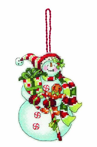 Canvas Plastic Ornaments (Dimensions Counted Cross Stitch Ornament, Snowman with Sweets)