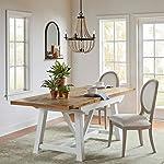 """Amazon Brand – Stone & Beam Bradhurst Casual Farmhouse Wood Dining Kitchen Table, 61""""-84""""L, White"""