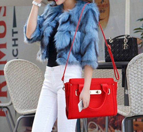 Sac À Femmes Bandoulière Main Bandoulière Noir À Rouge en Grande À Cuir Mode WKNBEU Sac Bleu Vache De Capacité Red Sac Voyage Tq4dfxwU