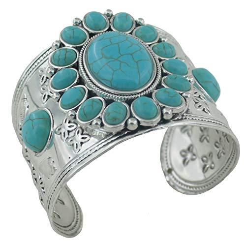 (jianxi Women's Antique Rgentium Plated Base Heart Compressed Turquoise Bracelet Cuff Bangle Fashion Jewelry (191)