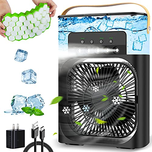 Portable Air Conditioner Fan, Personal Mini Air Conditioner Desk Cooling Fan with 900ml Water Tank, 1/2/3 H Timer, 3…