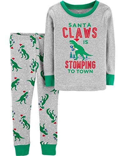 ' Christmas 2-Piece Snug Fit Cotton PJs (10, Grey Dino) ()