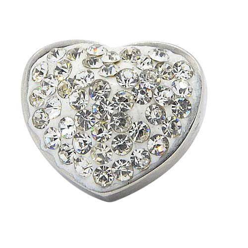 UNICRAFTABLE 10PCS Stainless Steel Heart Slide Charms Large Hole Charm Beads with Crystal Rhinestone for DIY Bracelets Necklace Jewelry Making 15x17x12mm