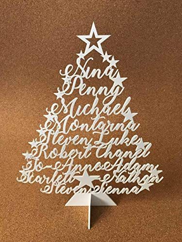 Personalized Ornament Name (Make Your Own Personalized Christmas Tree Family Names Stand Name Ornament Laser Cut Xmas Tree Plaque Freestanding Custom Sign Decoration Unique Gift for Christmas Star Festive Holidays Home Decor)