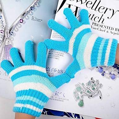 Kids Boys Girls Warm Soft Winter Stripe Knit Gloves Mittens 3 Pairs
