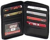 Genuine Leather Executive Zip Around Bi-Fold Coat Wallet Black and Brown #4641 US (Black)