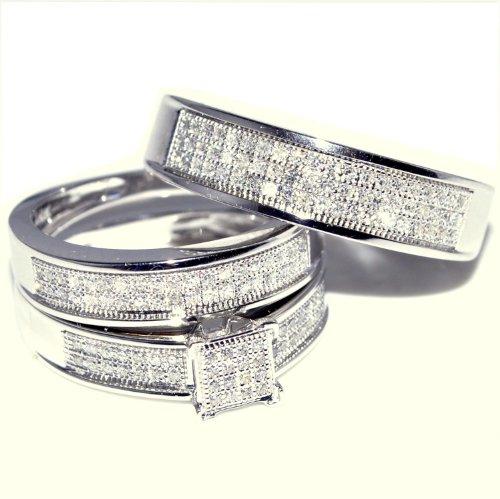 a94a42a4a8e49 White Gold Trio Wedding Set Mens Womens Wedding Rings Matching 0.40cttw  Diamond