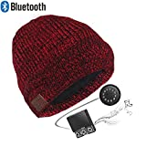 Zibaar Bluetooth Hat Bluetooth Beanie Bluetooth Headphone Hat Wireless Beanie Hat with Removable Bluetooth Headset and Mic Hands Free Talking Mix Color Knitting Cuff Design Mixed Red