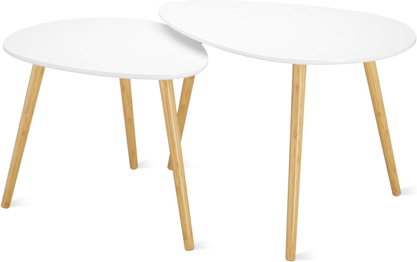 Homfa Lot de 2 Tables Basses Gigognes