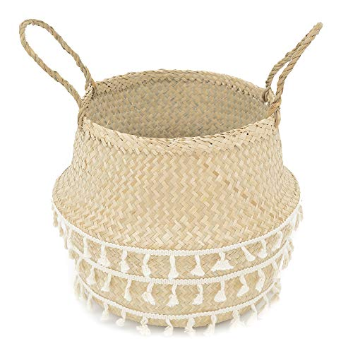 La Maia Medium Natural & Net Woven Seagrass Belly Plant Basket with Handles Woven Planter Basket for Storage, Laundry, Picnic, and Beach Bag