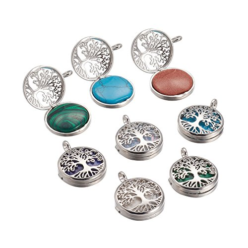 al & Synthetic Gemstone Pendants, with Brass Diffuser Locket Findings, Flat Round with Tree, 31x26x8mm, Hole: 4mm ()