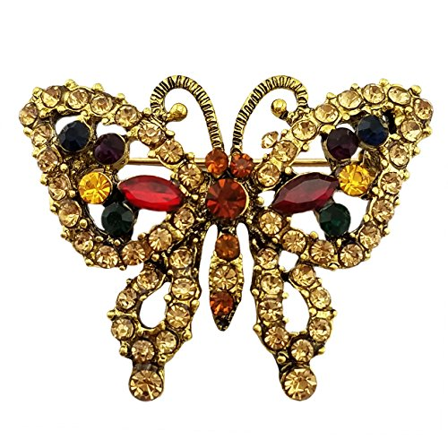 Small Butterfly Pin (SELOVO Small Brooch Pin Broach Butterfly Multicolor Crystal Antique Gold Tone)