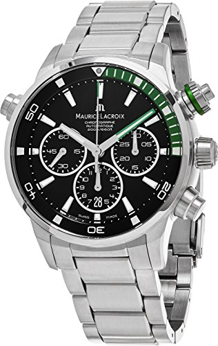 Maurice Lacroix Pontos S Diver Chronograph Mens Watches - 44mm Black Dial Stainless Steel Band Swiss Automatic Dive Watch For Men PT6018-SS002-331-1