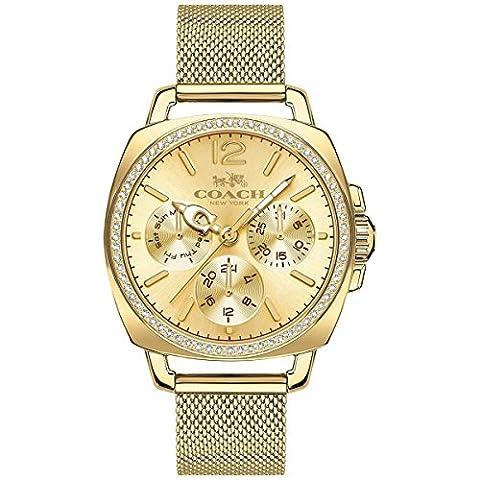 COACH Women's Boyfriend 34mm Mesh Watch Gold/Gold Plated Watch (Coach Women Gold Watch)