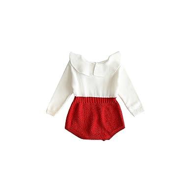 98c60b413185 Amazon.com  Kingte Newborn Baby Girls Romper Long Sleeve Knitted Ruffle  Jumpsuit  Clothing