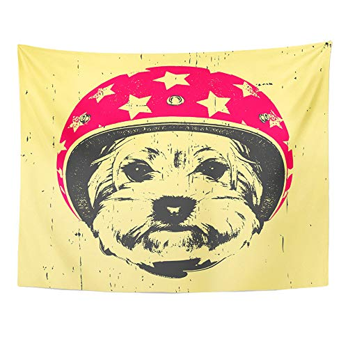 Emvency Tapestry Wall Hanging Airman Portrait of Yorkshire Terrier with Helmet Animal Aviation Aviator Beautiful 60