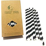 Black Striped Paper Straws, Colorful Stripes Paper Drinking Straws 100 Pack (Black Stripes), Durable & Biodegradable Drinking