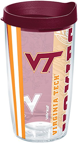 (Tervis 1216265 Virginia Tech Hokies College Pride Tumbler with Wrap and Maroon Lid 16oz, Clear)