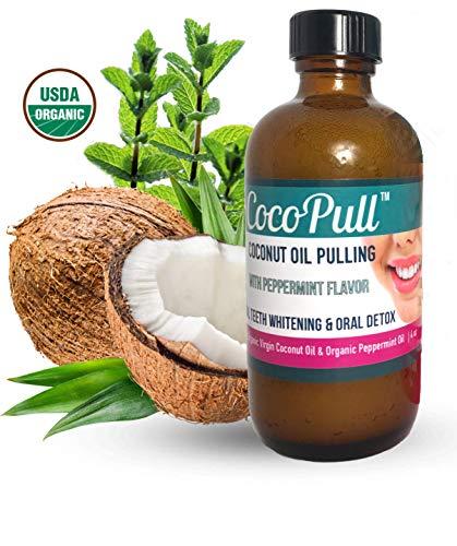 AVIVA PURE CocoPull Organic Coconut Oil Pulling Natural Teeth Whitener - Unrefined Coconut Oil Pulling With Organic Peppermint Oil - Natural Oral Care And Bad Breath Remedy, 4 oz Bottle