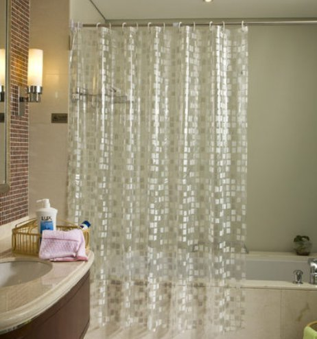 Ufriday Sparkle Vinyl Shower Curtains Waterproof with Metal Grommets Glitter Cube Pattern, Durable Bathroom Curtain Mildew-Resistant with Plastic Hooks No Toxic Mosaic, Semi-transparent, Small 36 x 72 (Shower Curtain With Sparkles)