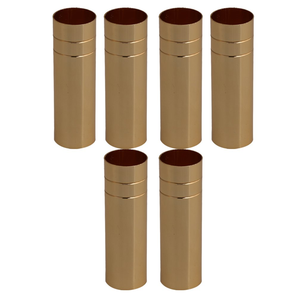 RDEXP 80mm Length 25mm Dia Golden Double Line Chandelier Candle Light Covers Sleeves Sockets Candelabra Base Set of 6