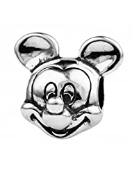TAOTAOHAS 925 Sterling Silver Charm Beads pendant Cute Mickey w Thread, Fit European bracelets