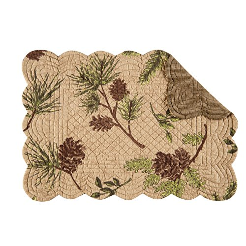 Rustic Pinecone - Set of 4 WOODLAND RETREAT Rectangular Quilted Placemat by C&F Home - Pinecones, Pine - Rustic, Lodge