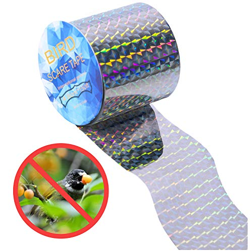 CandyHome Bird Deterrent Reflective Scare Tape - Double Sided Bird Repellent Tape for Control Pigeons, Grackles, Woodpeckers, Herons, Blackbirds and More, Sturdy & Ultra Strong (150 Ft.)