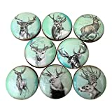 Set of 8 Deer on Green Print Cabinet Knobs