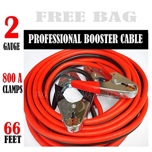 Comercial Heavy Duty 66 FT 2 Gauge Booster Cable Jumping Cables Emergency Jumper ()
