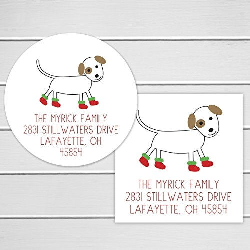 Sugar Round Boots (Christmas Address Stickers, Christmas Boots Dog Return Address Labels, Dog with Christmas Boots Envelope Seals (#352-2))