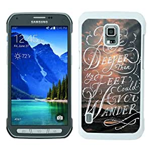 Take me deeper than my feet could ever wander Sea and clouds Bible verse White Samsung Galaxy S5 Active Screen Phone Case Luxury and Fashion Design
