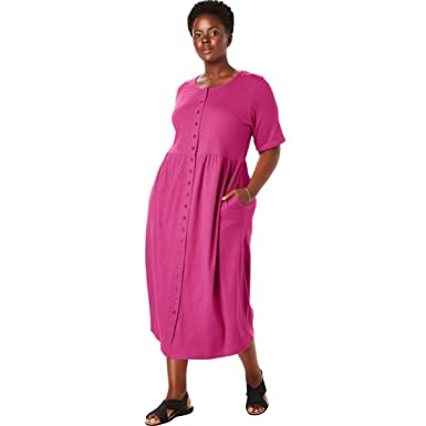 15bff356ad04a Woman Within Plus Size Petite Button-Front Essential Dress - Bright Berry
