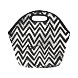Best PackIt Ladies Lunch Bags - Insulated Neoprene Lunch Bag Black White Chevron Striped Review
