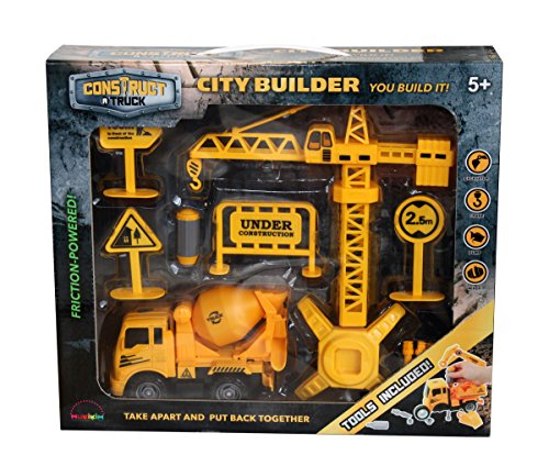 Construct a truck-city Builder set-mixer。作成A City Construction Site、Take the Truck Apart & Put It Back Together + Friction Powered ( Like 3-toys-in-1 。 )Award Winningセットthat encourages創造性。