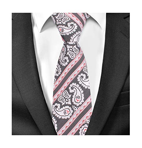 Men's Silver Paisley Floral Silk Ties Wholesale Groomsman Stripe Wedding Necktie