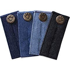 "PACKAGE INCLUDES: 1 x denim waist extender light blue, adds 1/2"" or 2"" extra space 1 x denim waist extender medium blue, adds 1/2"" or 2"" extra space 1 x denim waist extender dark blue, adds 1/2"" or 2"" extra space 1 x denim waist extender blac..."