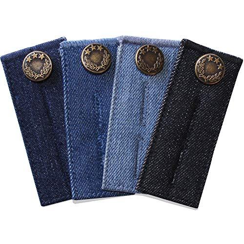 ZEFFFKA Denim Waist Extender Button for Jeans and Skirt Comfy Metal Buttons 4 pcs Assorted Colors
